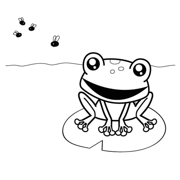 Rana cazando moscas: dibujo para colorear e imprimir