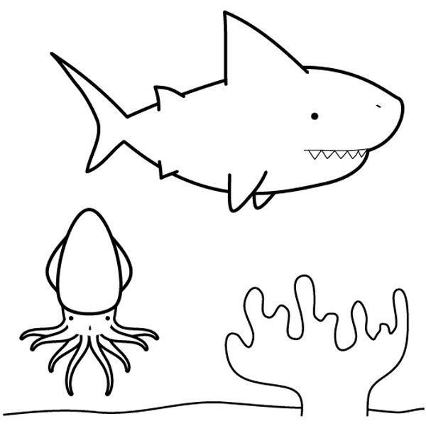 Tiburón buscando calamar: dibujo para colorear e imprimir