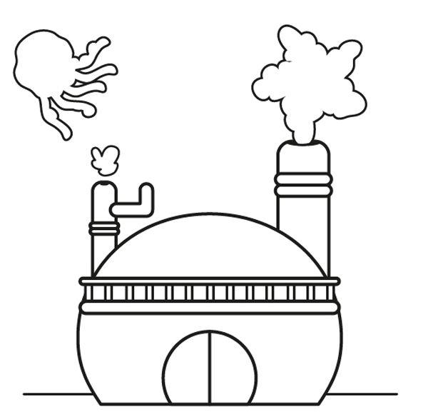 La fábrica de nubes: dibujo para colorear e imprimir