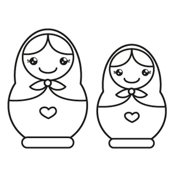 Muñecas rusas: dibujo para colorear e imprimir