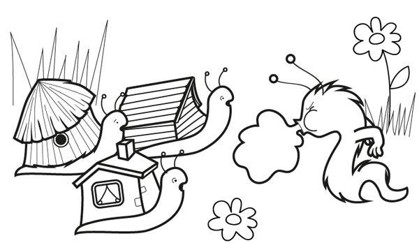 Dibujos Infantiles De Caracoles Para Colorear: Los Tres Caracolitos: Dibujo Para Colorear E Imprimir