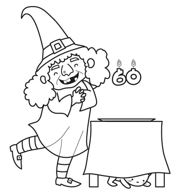 Bruja en su fiesta de cumpleñas: dibujo para colorear e imprimir
