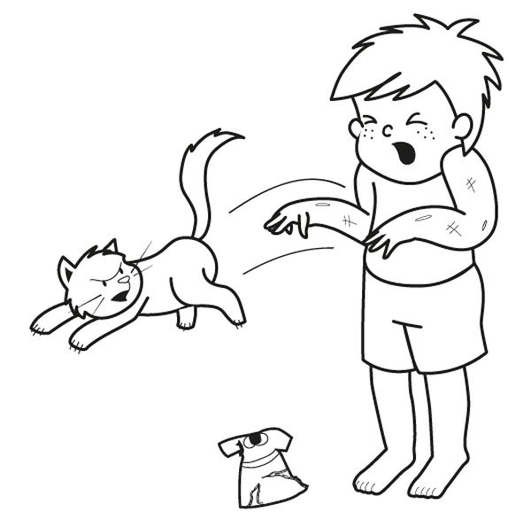 ¡Gato enfadado!: dibujo para colorear e imprimir