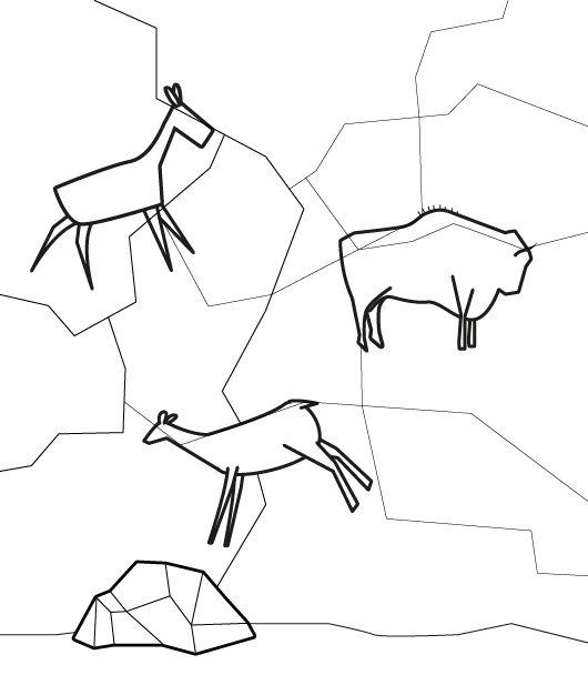 Pinturas rupestres: dibujo para colorear e imprimir
