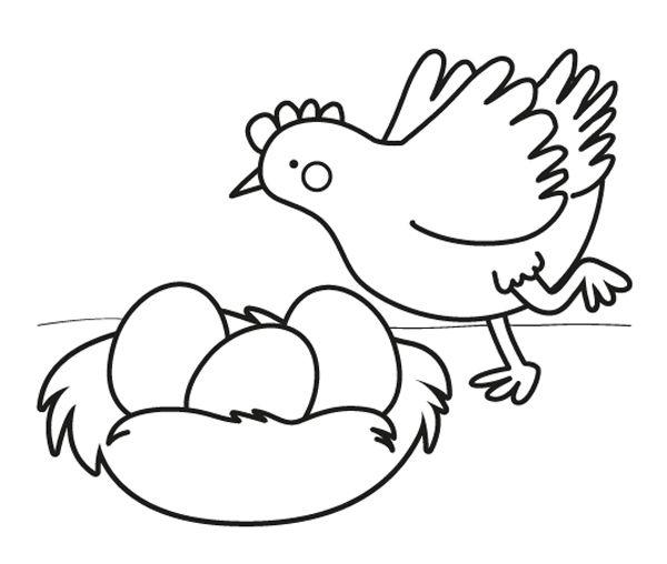 Gallina con huevos de Pascua: dibujo para colorear e imprimir