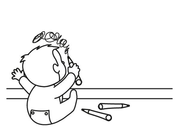Bebé pintor: dibujo para colorear e imprimir