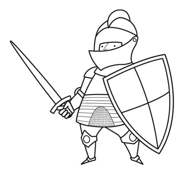con armadura y escudo: dibujo para colorear e imprimir