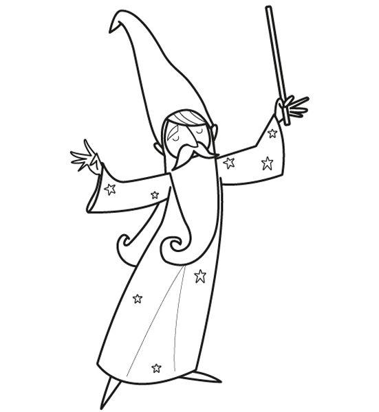 El mago Merlín: dibujo para imprimir y colorear