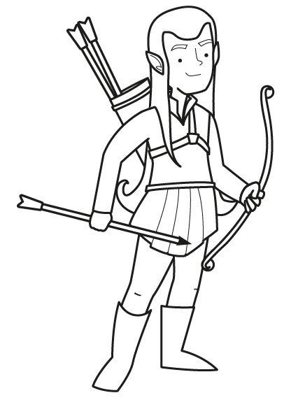 Elfo con arco: dibujo para colorar e imprimir