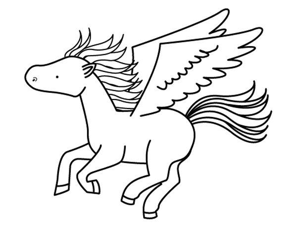 Caballo con alas: dibujo para colorear e imprimir
