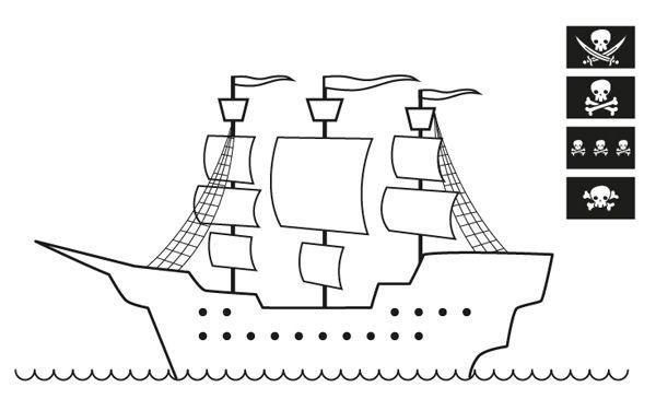 pirata sin bandera dibujo para colorear e imprimir