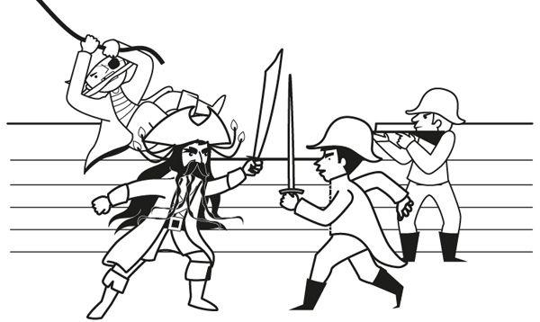 Ataque de piratas: dibujo para colorear e imprimir