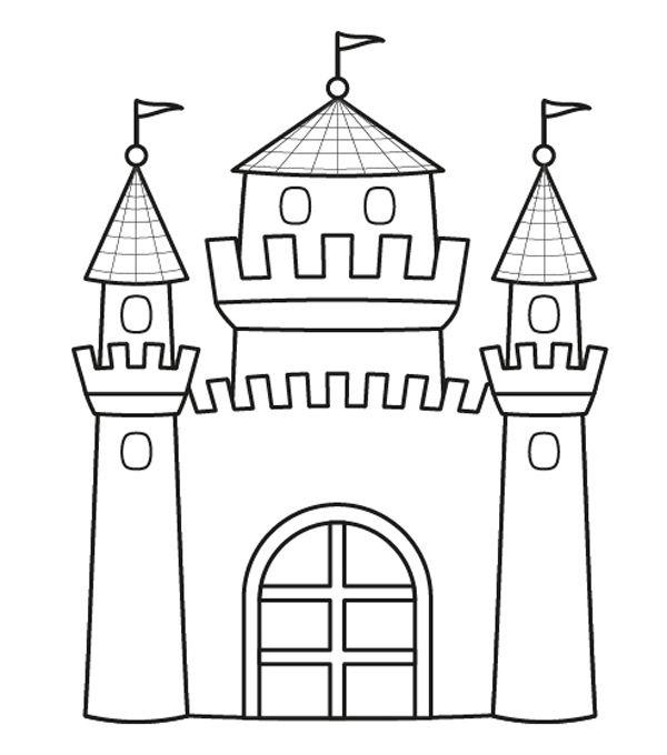 Castillo de princesa: dibujo para colorear e imprimir