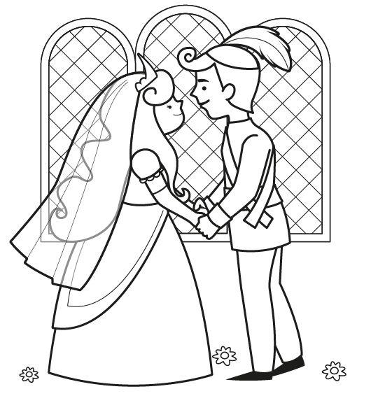 Boda de príncipes: dibujo para colorear e imprimir