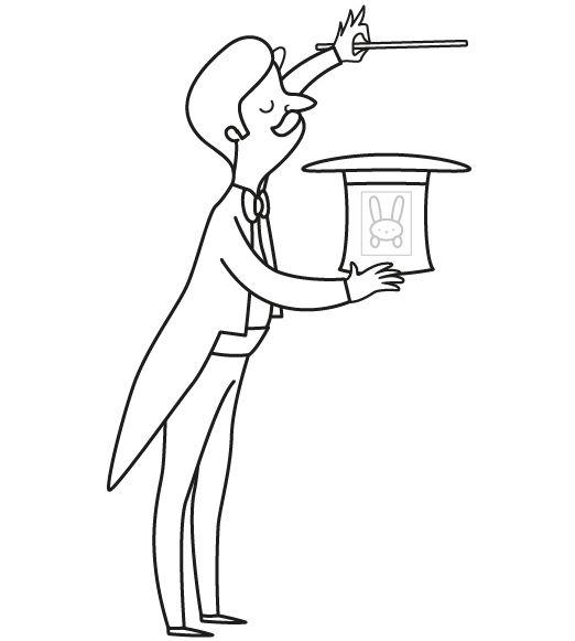 Los trucos de un mago: dibujo para imprimir y colorear