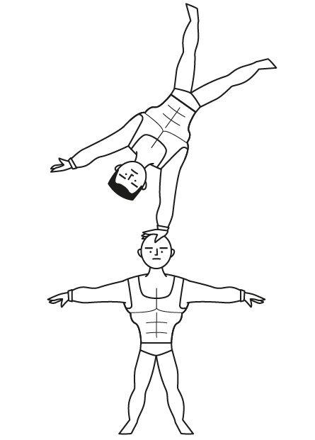 Circo y acróbatas: dibujos para colorear e imprimir