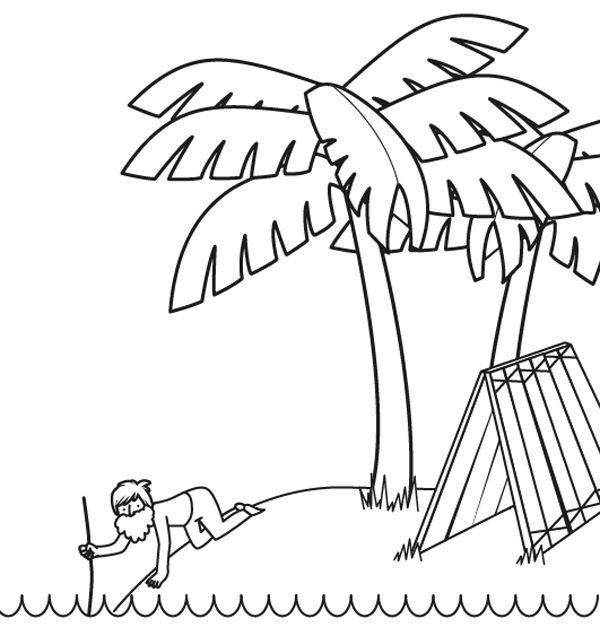 Robinson Crusoe en el desierto: dibujo para colorear e imprimir