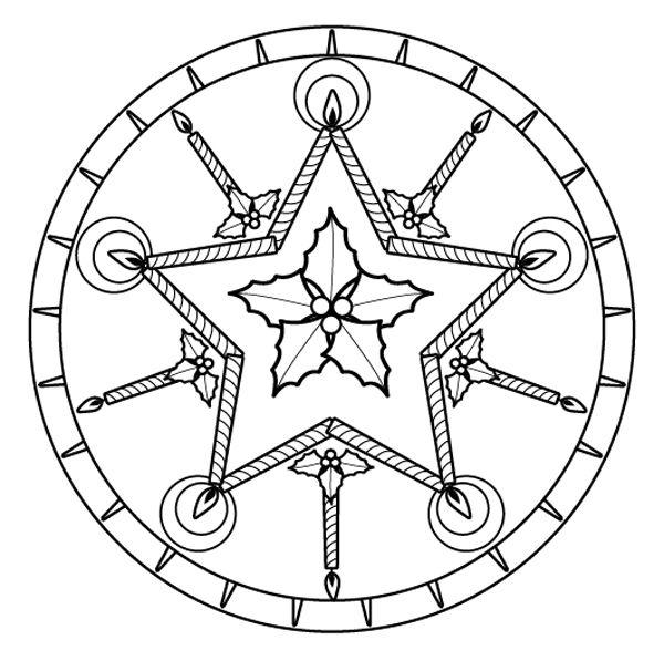 Mandala de Navidad: dibujo para colorear e imprimir