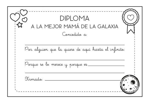 Diploma a la mejor mamá: dibujo para colorear e imprimir