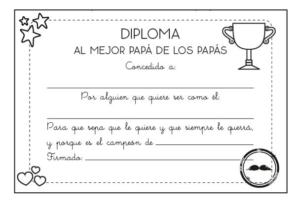 Diploma al mejor papá: dibujo para colorear e imprimir