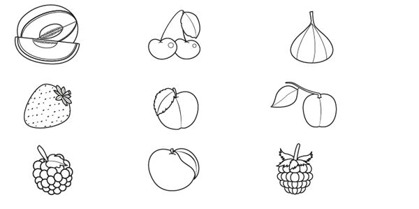 Frutas de verano: dibujo para colorear e imprimir