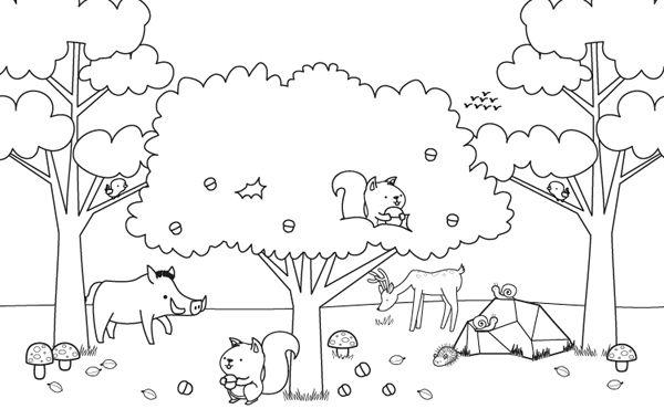 Dibujo De La Palabra Otoño Para Colorear Con Los Niños: Imprimir: Paisaje De Otoño Con Animalitos: Dibujo Para