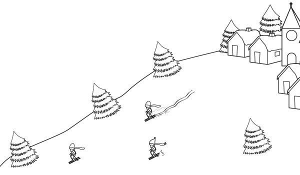 Paisaje De Montaña Con Esquiadores Dibujo Para Colorear E Imprimir