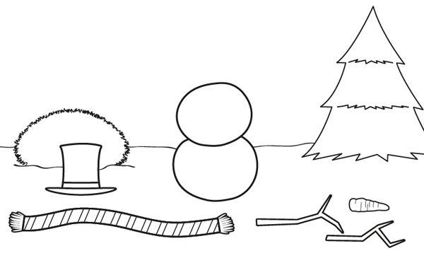 Muñeco de nieve desnudo: dibujo para colorear e imprimir