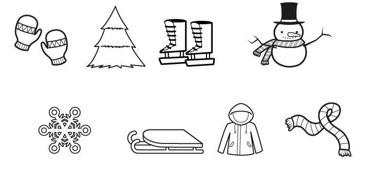 Imágenes de invierno: dibujo para colorear e imprimir
