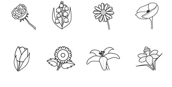 Imágenes de flores: dibujo para colorear e imprimir