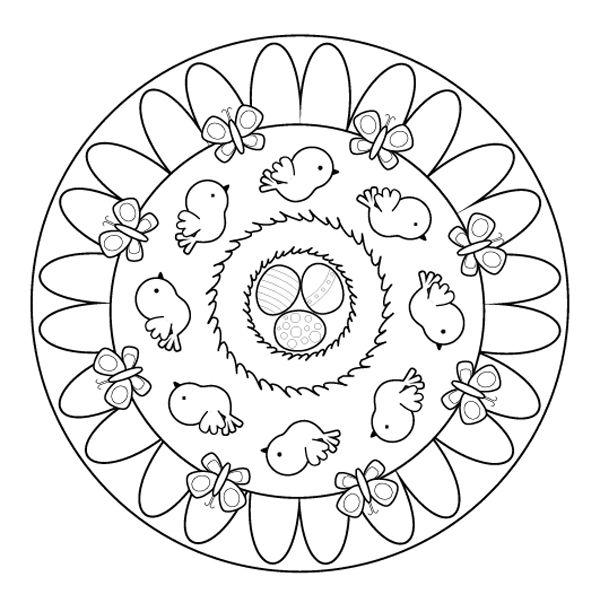 Mandala de primavera: dibujo para colorear e imprimir