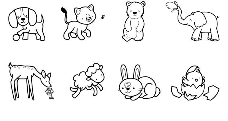 Imprimir: Crías de animales: dibujo para colorear e imprimir