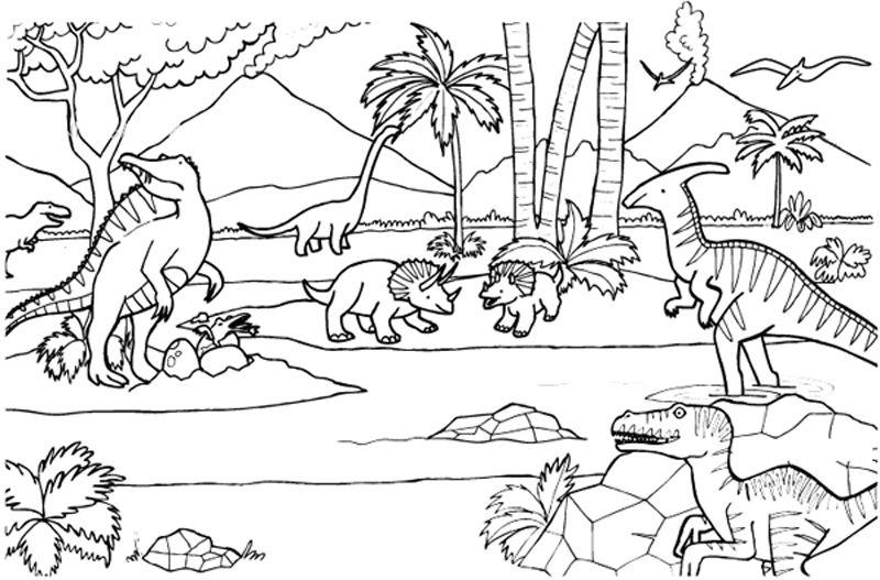 Dinosaurios: dibujo para colorear e imprimir