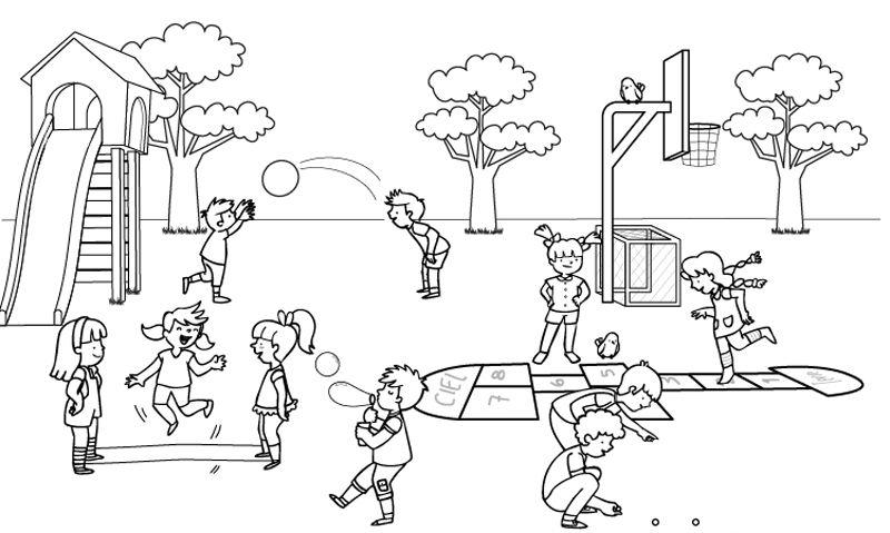 Niños En El Recreo Dibujo Para Colorear E Imprimir