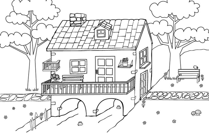 Dibujos Sobre La Escuela Para Colorear E Imprimir: Bonita Casa: Dibujo Para Colorear E Imprimir
