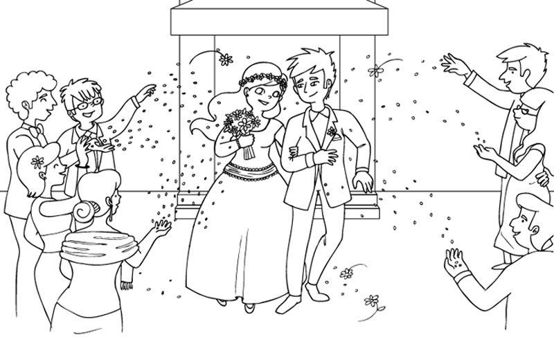 Una bonita boda: dibujos para colorear e imprimir