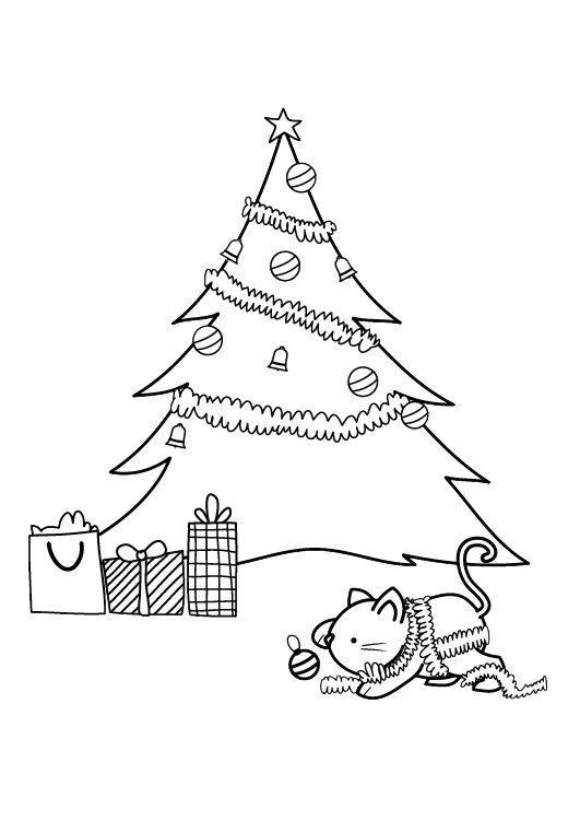 Árbol de Navidad: dibujo para imprimir y colorear