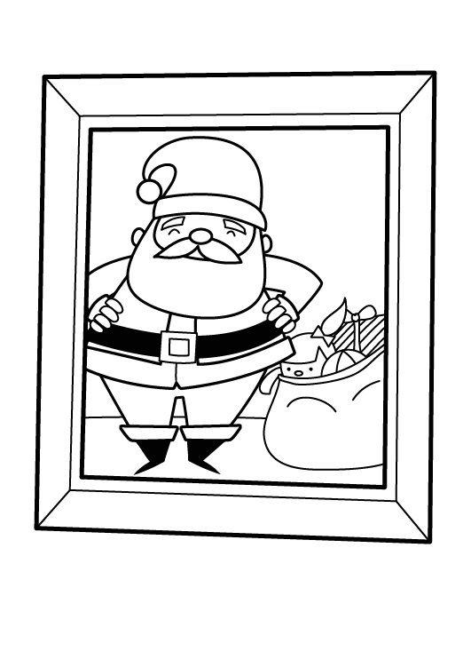 Papá Noel con su saco de regalos: dibujo para imprimir y colorear