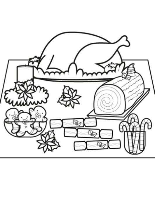 Mesa de Nochebuena: dibujo para imprimir y colorear