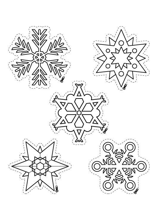 Copos y estrellas de navidad dibujos para colorear e imprimir - Estrella para arbol de navidad ...