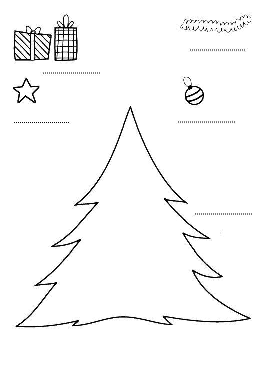 Decorar el árbol de Navidad: dibujo para imprimir y colorear