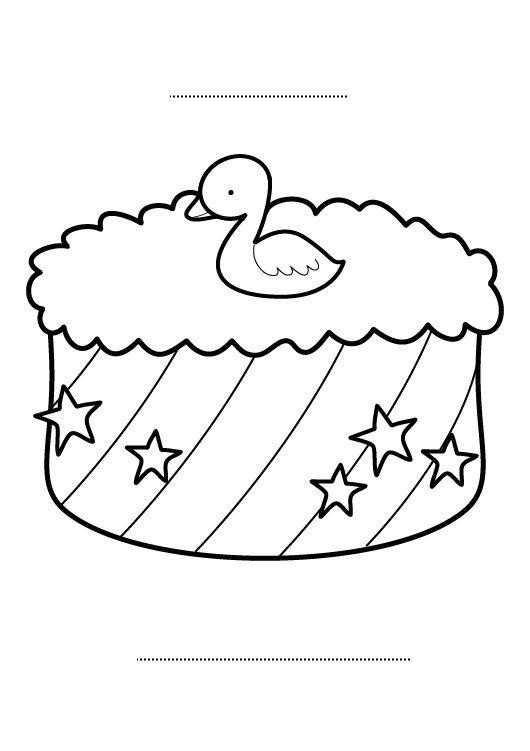 Tarta De Cumpleaños 2 Años Dibujo Para Colorear E Imprimir