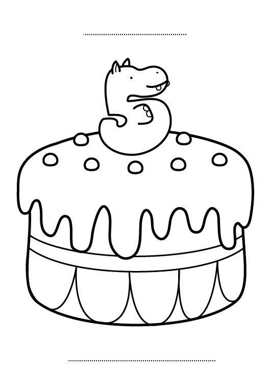 Tarta De Cumpleanos 5 Anos Dibujo Para Colorear E Imprimir