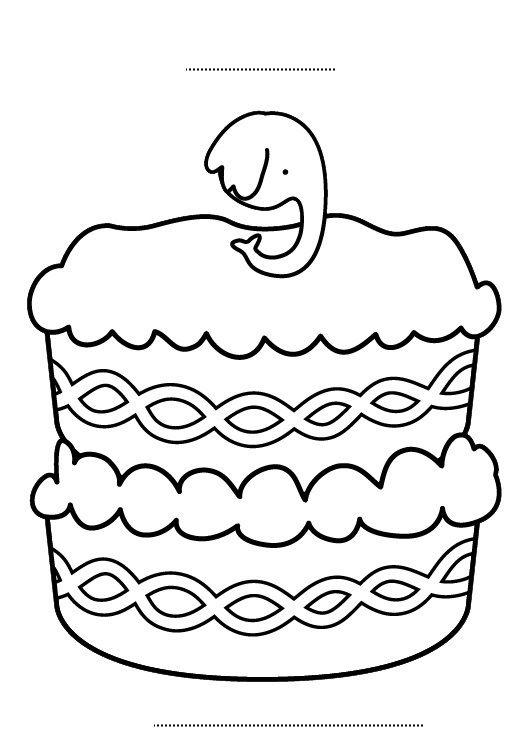 Tarta de cumpleaños 9 años: dibujo para colorear e imprimir