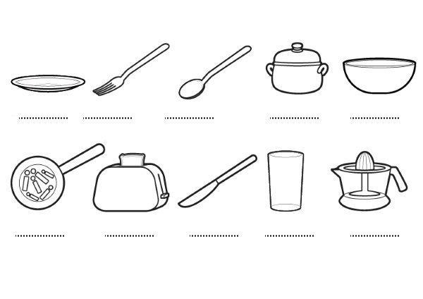 Utensilios de cocina dibujos para colorear e imprimir for Objetos para cocinar