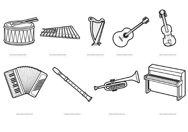 Instrumentos musicales: dibujos para colorear e imprimir