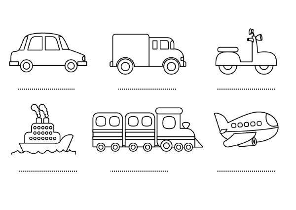 Medios de tranporte: dibujos para colorear e imprimir