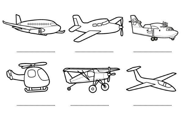Aviones: dibujos para colorear e imprimir