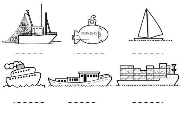 Barcos: dibujos para colorear e imprimir