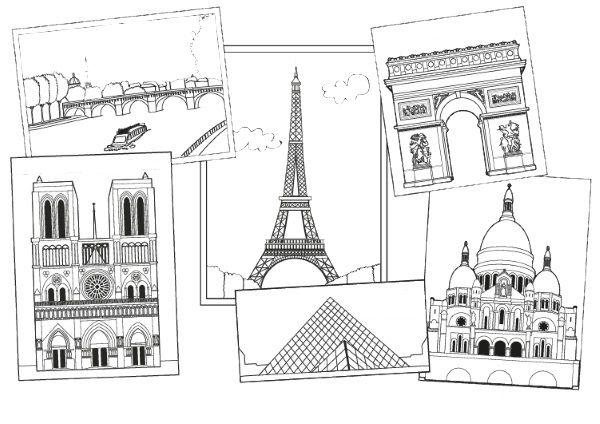 Monumentos de París: dibujo para colorear e imprimir